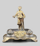 Gilt bronze antique musical automaton inkwell
