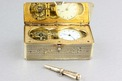 Antique silver-gilt skeleton-escapement timepiece snuffbox