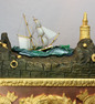 Monumental Antique bronze, ormolu and polished copper on bronze rocking ship automaton clock