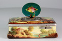 Finely painted antique sarcophagus-form wooden singing bird box, by E. Flajoulot retailed by Juvenia