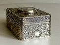Engraved silver-gilt and painted ivorine pictorial study singing bird box,  Early-period Karl Griesbaum