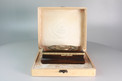 Antique silver gilt sarcophagus-form wooden singing bird box, by E. Flajoulet