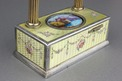 Vintage silver-gilt, guilloche yellow enamel and pictorial enamel timepiece alarm-actuated singing bird box, by C. H. Marguerat