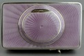 Silver and full lilac radial guilloche enamel singing bird box