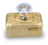 Antique Gilt metal and pictorial enamel Singing Bird Box, by Bontems
