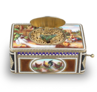 Silver-gilt and pictorial enamel singing bird box, by Karl Griesbaum