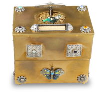 French enamel singing bird jewellry box, with rhyme notation bar