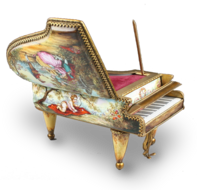 Antique gilt metal and pictorial enamel grand piano-form Musical Box