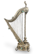 Antique Silver-gilt and mottled green agate mounted musical harp