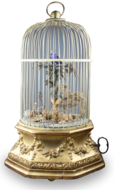 Antique Hexagonal-profile large single singing bird-in-cage, by Phallibois