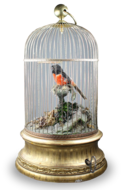 Large single antique singing bird-in-cage, by Phallibois