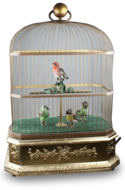 Antique Quadruple singing birds-in-cage, by Bontems
