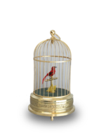 A small single singing bird-in-cage, by Karl Griesbaum