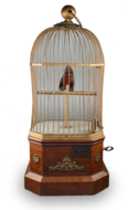 Single large Antique coin-operated bird-in-cage, by Phallibois,