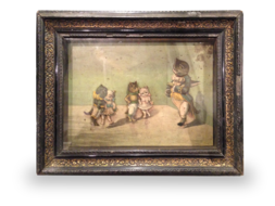 Antique Musical picture automaton - 'The Feline Dancing Lesson