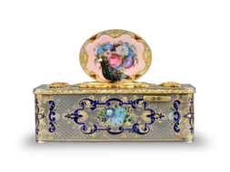 Silver-gilt, gold, enamel and pictorial enamel Fusee singing bird box, by Charles Bruguier