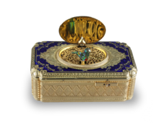An exceptional exhibition gold, enamel and pictorial enamel Fusee singing bird box, by Jacques Bruguier
