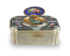 Antique silver-gilt and pictorial enamel Fusee singing bird box, by Charles Bruguier