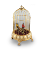 Gilt metal small double singing birds-in-cage, by Elpa
