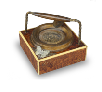 Vintage burr-yew and bone musical automaton ashtray, by Thorens