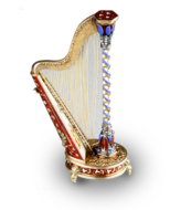 Gold, enamel and split seed pearl embellished musical harp with hidden scent bottle
