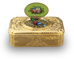 Antique silver-gilt and pictorial enamel Fusee singing bird box, with melodic notational birdsong, by Charles Bruguier