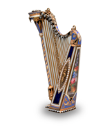 Gold, diamond, enamel and split seed pearl musical harp, by Bessiere & Schneider