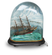 A large classic rocking ship musical automaton under painted glass dome