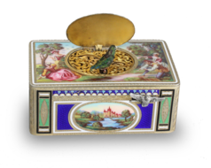 Antique silver-gilt and full painted enamel singing bird box, by Karl Griesbaum,