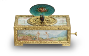 Gilt metal and painted ivory panel singing bird box, by C. H. Marguerat