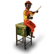 A very rare and fine antique black boy banjo player musical automaton, by Gustave Vichy