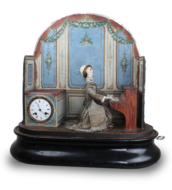 Antique lady pianist musical automaton with timepiece, by Jean Phalibois