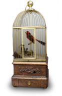 Antique double singing birds-in-cage with hungry chicks in nest, by Bontems