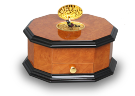 An exclusive and contempary decagonal singing bird card box, by Reuge