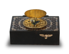 Antique inlaid mottled tortoiseshell and pictorial enamel singing bird box