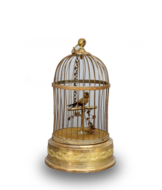 Antique small single singing bird-in-cage, by Bontems