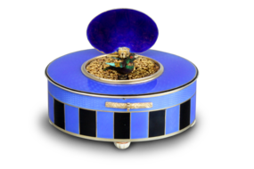 Silver-gilt and duet enamel oval singing bird box, by C. H. Marguerat