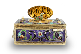 Vintage Art-Nouveau silver gilt, cloisonné enamel and garnet-set singing bird box