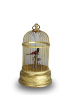A small singing bird-in-cage, by Bontems
