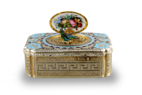 Antique tooled silver-gilt, enamel and pictorial enamel singing bird box, by Jacques Bruguier