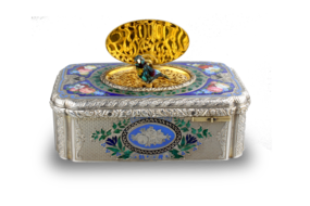 Antique silver-gilt, tri-tone enamel and pictorial enamel singing bird box, by Jacques Bruguier