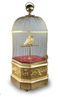 Antique coin-operated large singing canary-in-cage, by Bontems