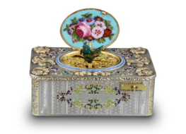 An exceptionally important and early silver, parcel-gilt, enamel and gilt appliques singing bird box, by Charles Bruguier