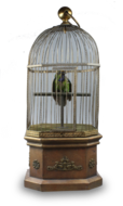 Antique large single singing bird in cage, by Bontems