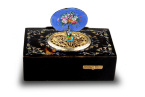 Antique inlaid tortoiseshell and pictorial enamel singing bird box, by Bontems