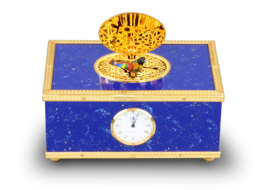 Lapis-lazuli enamelled and gilt musical timepiece alarm-actuated singing bird box, by Reuge