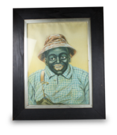 Antique expression-changing portrait picture automaton of a black farmer, by Hoyt