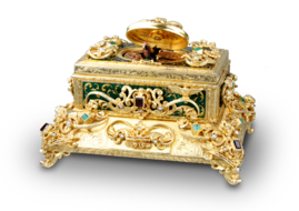 Vintage silver-gilt, enamelled, Emerald, red garnet and pearl-set singing bird box, by Karl Griesbaum