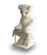 A vintage white cat ironing automaton, by Roullet & Decamps