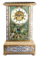 Rare antique gilt metal and champleve enamel timepiece-actuated singing bird, by Bontems